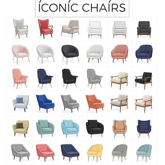 Ilustración de dibujado a mano de silla icónica