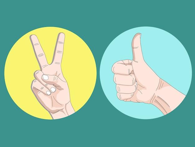 Ilustración dibujo boceto de dibujos animados de dos dedos y pulgar arriba gesto de la mano.