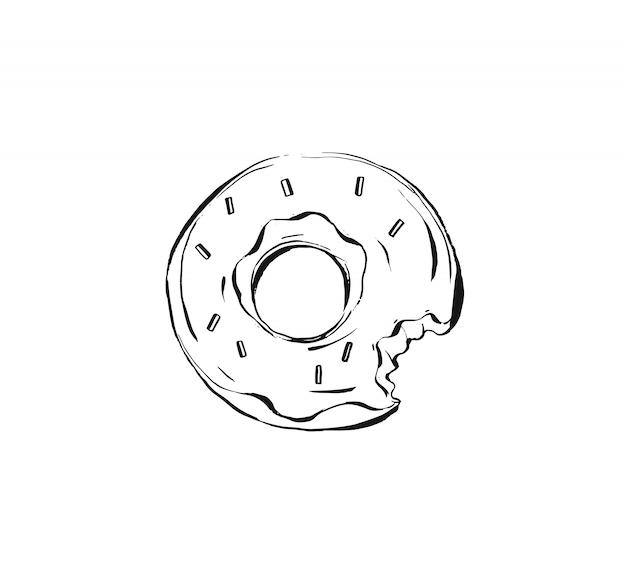 Ilustración de dibujo de boceto realista de tinta dibujada a mano con postre de donut glaseado sobre fondo blanco