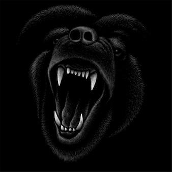 Ilustración de dibujo de cabeza de perro enojado