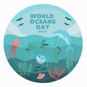 Ilustración de dibujo del día mundial de los océanos