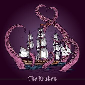 Ilustración de dibujo de kraken