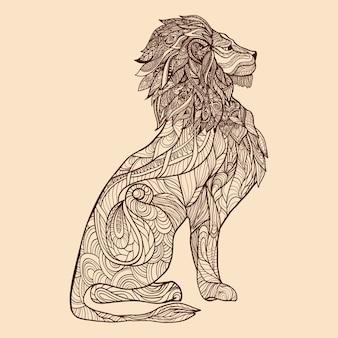 Ilustración de dibujo de león