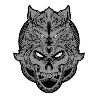 Ilustración de dibujo a mano alzada, cabeza de lobo de cráneo con piel de serpiente redonda. prima