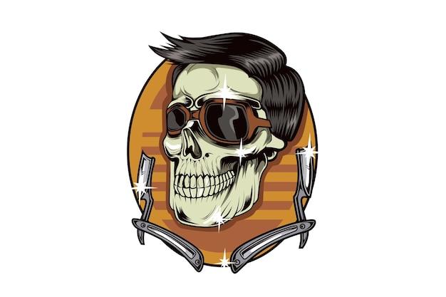 Ilustración de dibujo de mano de barbería de cráneo