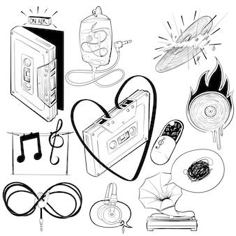 Ilustración de dibujo de mano conjunto de entretenimiento de música