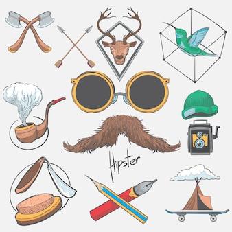 Ilustración de dibujo a mano conjunto de estilo hipster