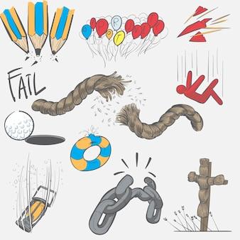 Ilustración de dibujo de mano conjunto de misión de fracaso