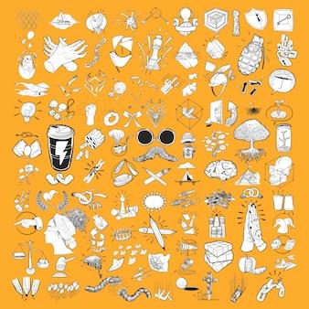 Ilustración de dibujo de mano conjunto mixto de estilo de vida