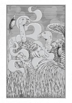 Ilustración de dibujo a mano con estilo de línea grabado, el concepto de los buitres y la vida salvaje