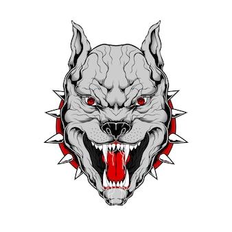 Ilustración de dibujo de mano de pit bull de estilo grunge