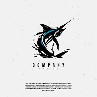 Ilustración de dibujo de pez marlin azul premium