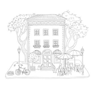 Ilustración de dibujo de vector blanco y negro café de la ciudad en un edificio antiguo, en la calle, mujeres tomando café y hablando en mesas bajo el paraguas.