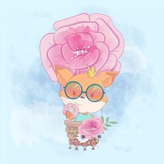 Ilustración de dibujos animados de acuarela de una linda chica zorro en un globo