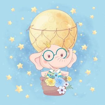 Ilustración de dibujos animados de acuarela de un lindo elefante en un globo