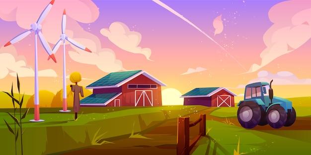Ilustración de dibujos animados de agricultura ecológica inteligente