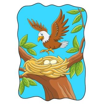 Ilustración de dibujos animados el águila posada en su nido en el árbol
