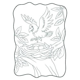 Ilustración de dibujos animados del águila posada en su nido en el libro de árbol o página para niños en blanco y negro