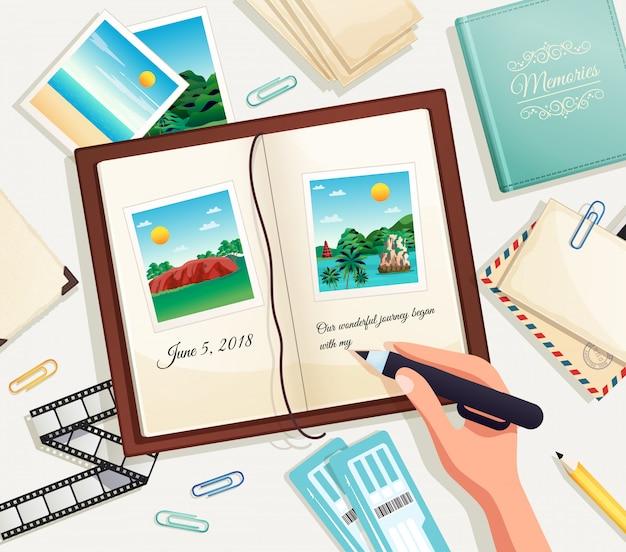 Ilustración de dibujos animados del álbum de fotos con la mano humana que sostiene el lápiz para escribir la explicación debajo de la fotografía en la página del libro de recuerdos