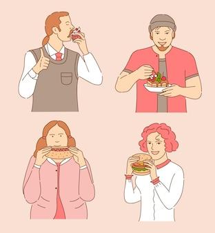 Ilustración de dibujos animados de alimentos. hombres disfrutando de pastel y cupcake, mujeres comiendo hot dog y hamburguesa.