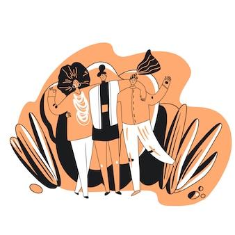 Ilustración de dibujos animados de amigos felices y hermandad. feliz mujer cogidos de la mano, abrazándose unos a otros en un ambiente amistoso y positivo. concepto feminista de hermandad
