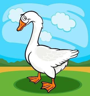 Ilustración de dibujos animados de animales de granja de ganso pájaro