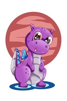 Una ilustración de dibujos animados de animales lindo bebé dragón púrpura