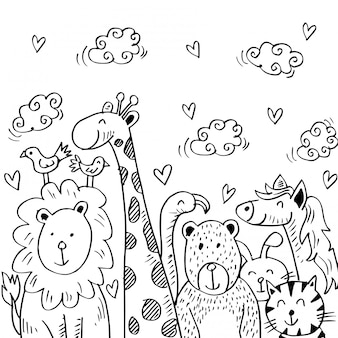Ilustración de dibujos animados con animales lindos.