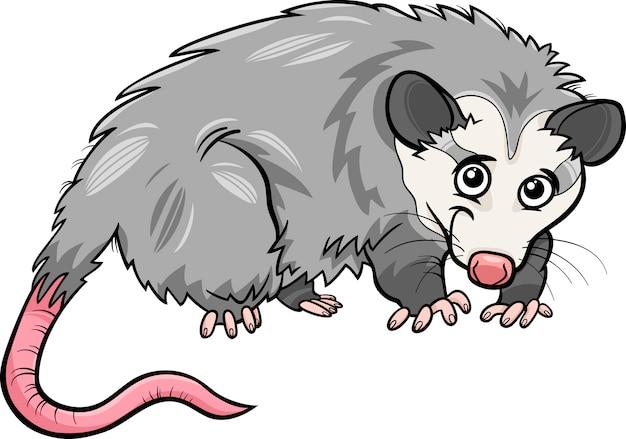 Ilustración de dibujos animados de animales de la zarigüeya