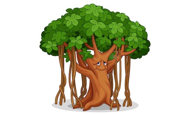 Ilustración de dibujos animados de árbol viejo