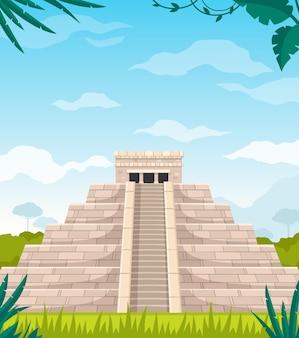 Ilustración de dibujos animados de arquitectura de cultura de civilización maya