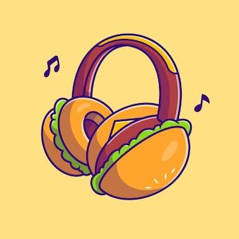 Ilustración de dibujos animados de auriculares burger. estilo de dibujos animados plana