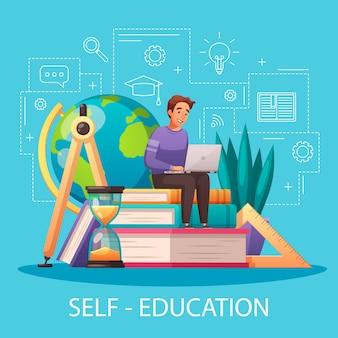 Ilustración de dibujos animados de autoeducación en línea con hombre sentado en libros de texto con estilo de esquema de computadora portátil