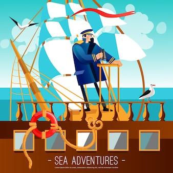 Ilustración de dibujos animados de aventuras en el mar