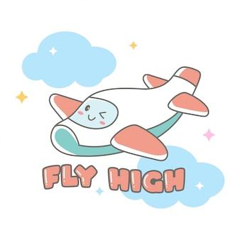 Ilustración de dibujos animados de avión doodle