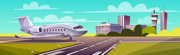 Ilustración de dibujos animados, avión gris, chorro en la pista. despegue o aterrizaje de un avión comercial.