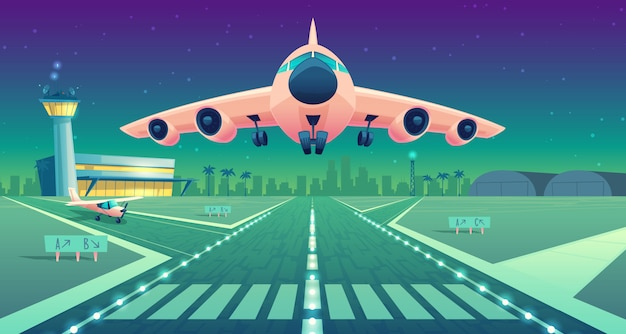 Ilustración de dibujos animados, avión de pasajeros blanco, jet sobre la pista. despegue o aterrizaje de avión comercial.