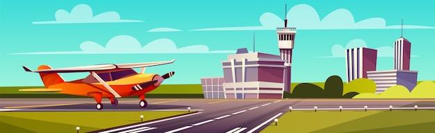 Ilustración de dibujos animados, aviones de luz amarilla en la pista. despegue o aterrizaje de avión