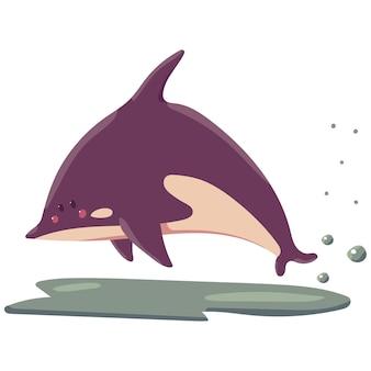 Ilustración de dibujos animados de ballena asesina aislada sobre fondo blanco.