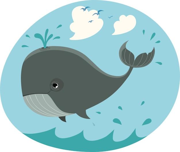 Ilustración de dibujos animados de ballena feliz