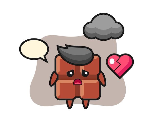 La ilustración de dibujos animados de barra de chocolate es corazón roto, estilo kawaii lindo.