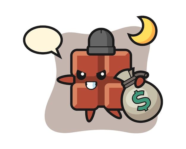 Ilustración de dibujos animados de barra de chocolate se roba el dinero, estilo kawaii lindo.