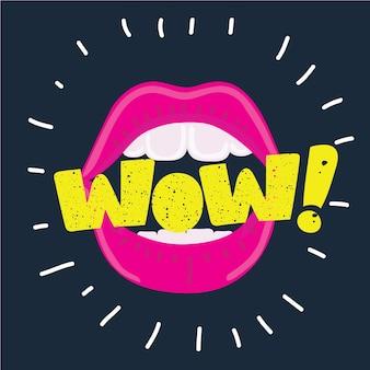 Ilustración de dibujos animados de boca abierta y mensaje wow