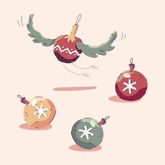 Ilustración de dibujos animados de bolas de árbol de navidad aislado sobre fondo.