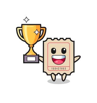 La ilustración de dibujos animados del boleto es feliz sosteniendo el trofeo dorado, diseño de estilo lindo para camiseta, pegatina, elemento de logotipo