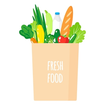 Ilustración de dibujos animados de bolsa de papel con alimentos orgánicos saludables aislado sobre fondo blanco.