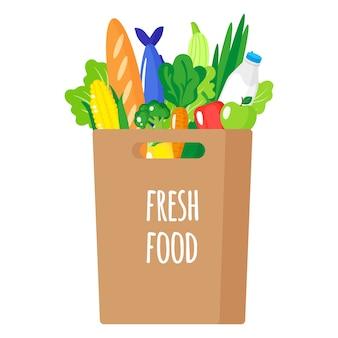 Ilustración de dibujos animados de bolsa de papel con asas con alimentos orgánicos saludables aislados sobre fondo blanco