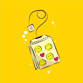 Ilustración de dibujos animados de bolsitas de té feliz