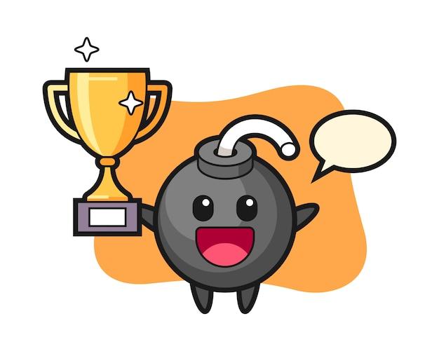 Ilustración de dibujos animados de bomba es feliz sosteniendo el trofeo de oro