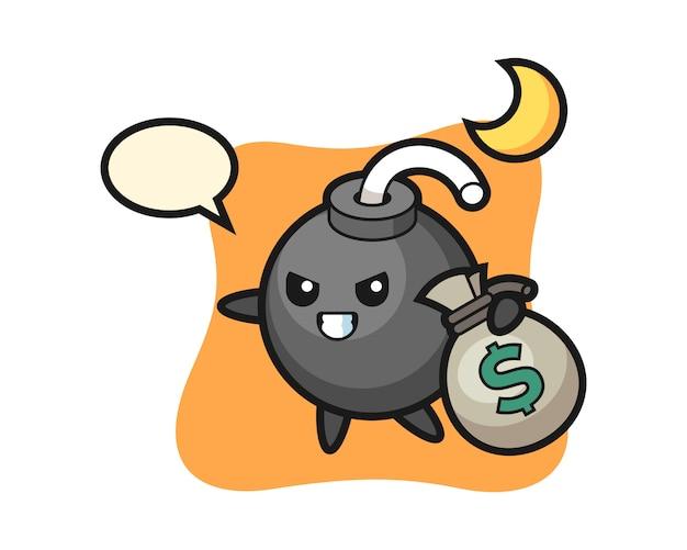 Ilustración de dibujos animados de bomba se roba el dinero